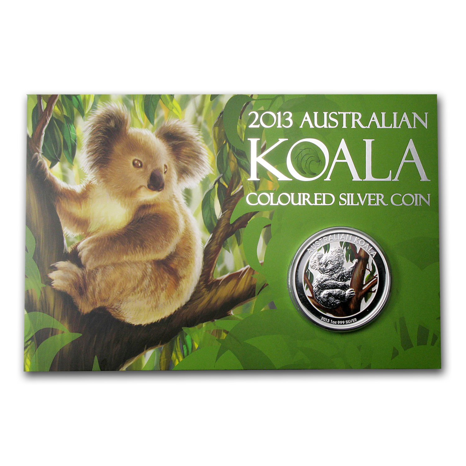 2013 Australia 1 oz Silver Koala BU (Colorized, In display card)